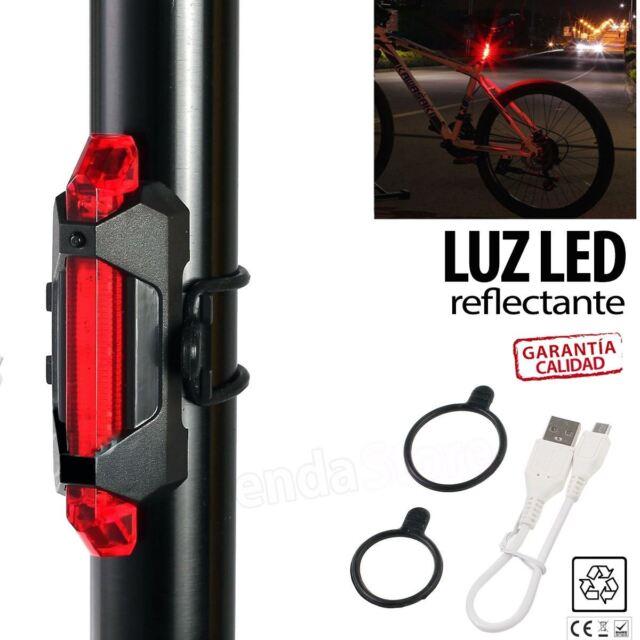 LUZ REFLECTANTE TRASERA BICICLETA BATERÍA USB CICLISMO 5 LED SEÑALIZACIÓN ROJA