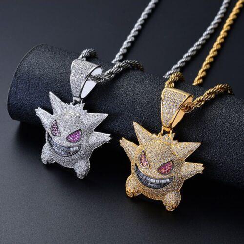 Herren Anhänger Gengar Kette Gold Halskette Hip Hop Schmuck Geschenk Diamant