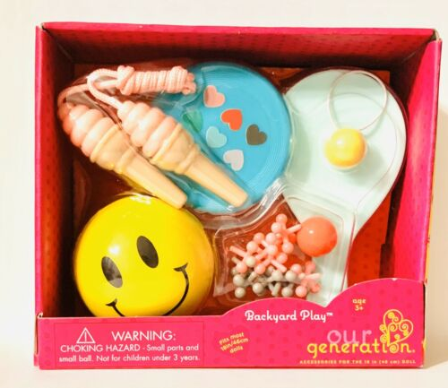 """Our Generation Backyard Play Set Frisbee Ball Rope For 18"""" /& American Girl NIB"""