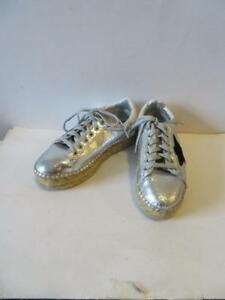 d10b1a5cbcc WOMENS STEVE MADDEN SILVER LEATHER LOW-TOP SNEAKERS W STAR SIZE 7 1 ...