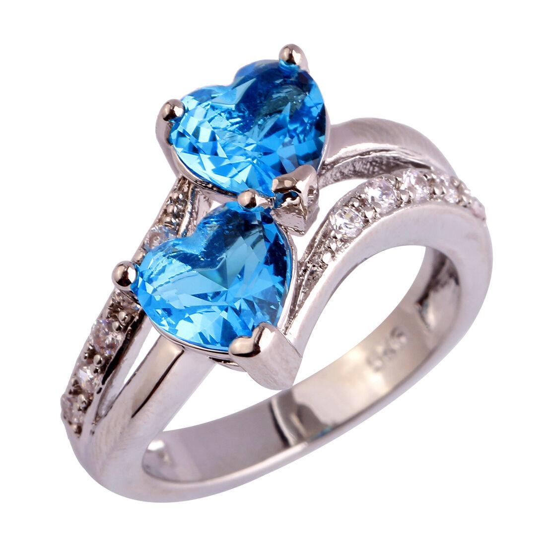 Pretty Emerald Cut Amethyst Gemstones Silver Ring Size 7 8