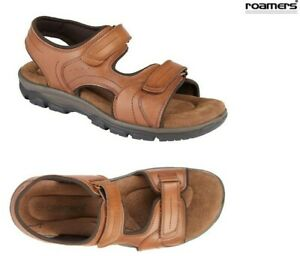 Mens-Roamers-Tan-Brown-Leather-Summer-Sports-Sandals-Shoes-Size-6-12-UK