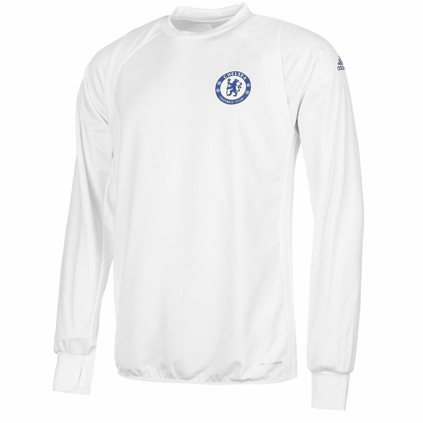 Adidas Chelsea Allenamento Bianco da Uomo Calcio Maglietta Maglione Felpa