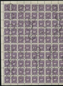 Canada-J20-1938-Postage-Due-UL-Plate-1-full-sheet-of-100-Exhibit-Quality-VF