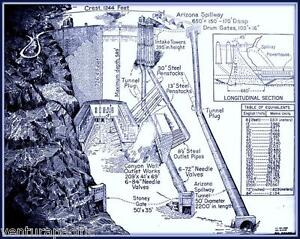 Hoover dam diagram blueprint giclee print ebay image is loading hoover dam diagram blueprint giclee print malvernweather Choice Image