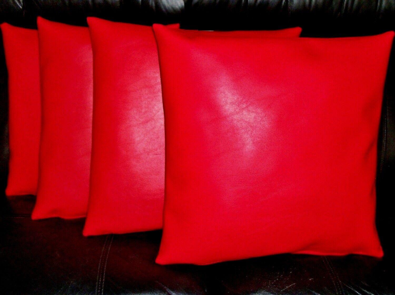 4 Rouge en Cuir Synthétique Classique Coussins 16  18  20  Diffusion Oreillers & Inner Pads