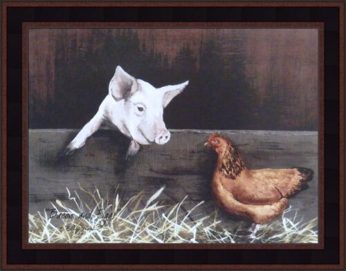 BACON AND EGGS by Billy Jacobs FRAMED PRINT PICTURE 15x19 KITCHEN Pig Chicken