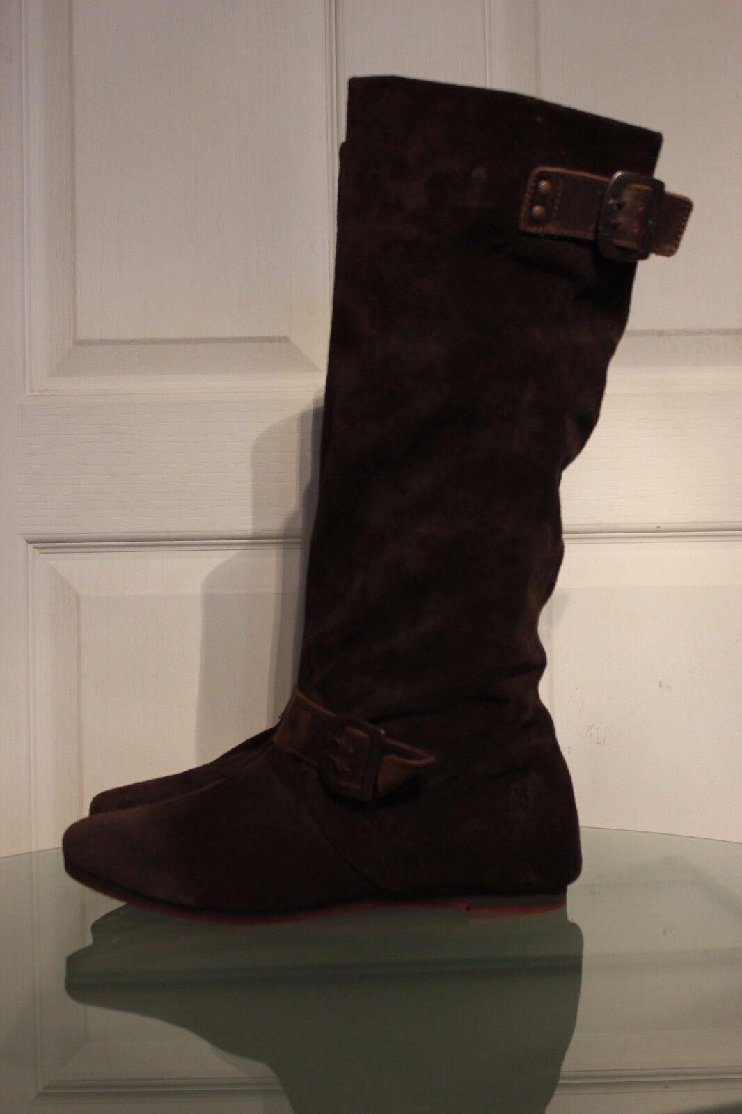 FLY LONDON Dark Braun Suede Mid-Calf Pull On Stiefel, UK7/EUR40, VGC
