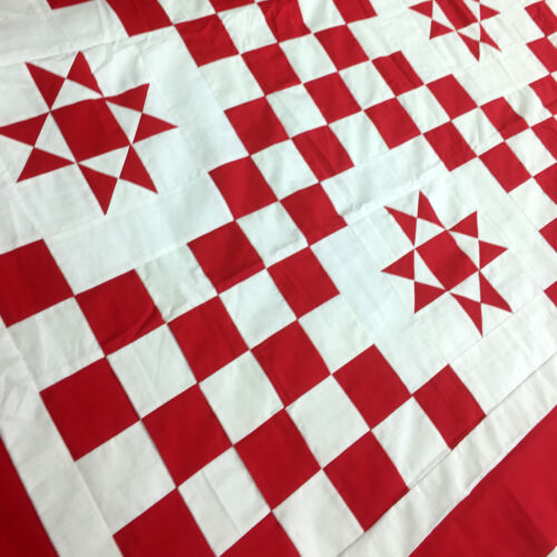 Patchwork Red /& White Double Irish Chain Star QUILT TOP