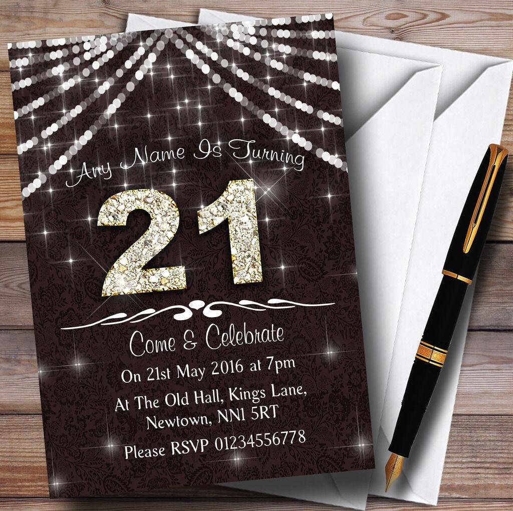 21St Braun Weiss Bling Sparkle Party Invitations Birthday Personalised Npovry4128 Karten Und Schreibwaren Fur Besondere Anlasseuber