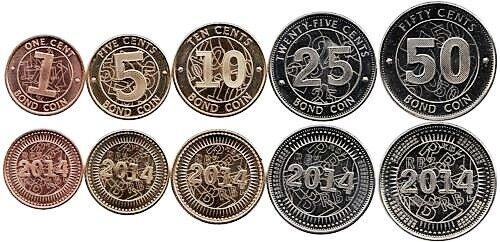 "1-50 cents 2014 /""Bond coins/"" 1 dollar /& 10 Trillion banknotes 5 Zimbabwe coins"