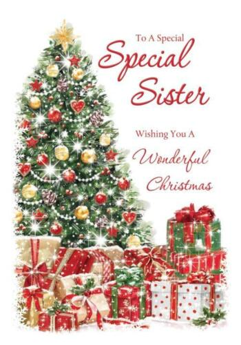 SPECIAL SISTER Tress CADEAUX GIFTS /& Holly Design Carte De Noël Belle Verset
