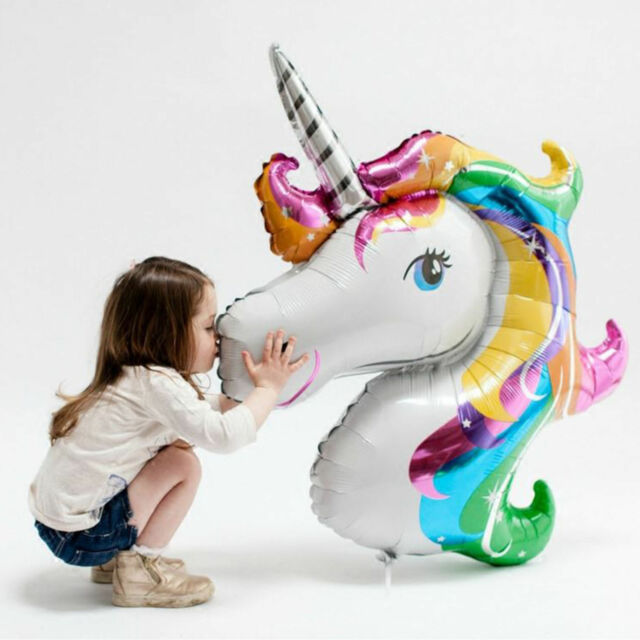 2…Rainbow Unicorn Horse Inflatable Foil Helium Balloon Birthday Party Room Decor