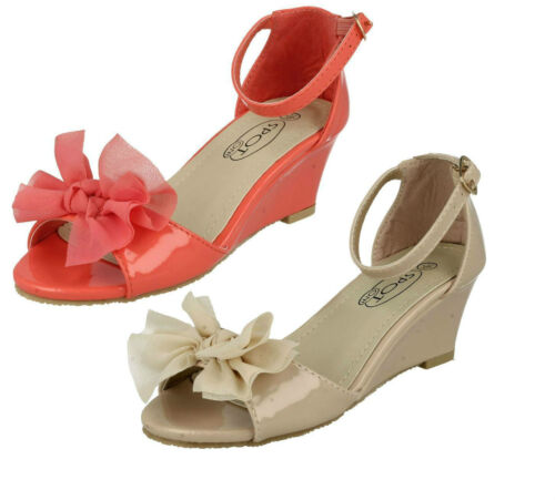 SPOT ON H1R074 Girls Peep Toe Wedge Party Shoe
