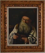 20Th Century Jewish Oil on Canvas Portrait Old Rabbi Studying the Torah Signed