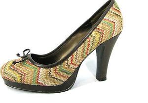 Kenneth-Cole-Unlisted-Shoes-Sz-8-Pumps-4-034-Heels-Platform-Stripes-Woven-Womens