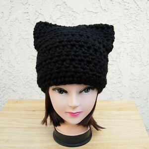 50ea1341c8d Solid Black Cat Hat with Ears Soft Winter Crochet Knit Chunky Bulky ...