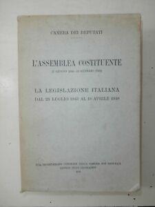 Rarissimo Libro L'Assemblea Costituente 1949 Camera dei Deputati Prima edizione