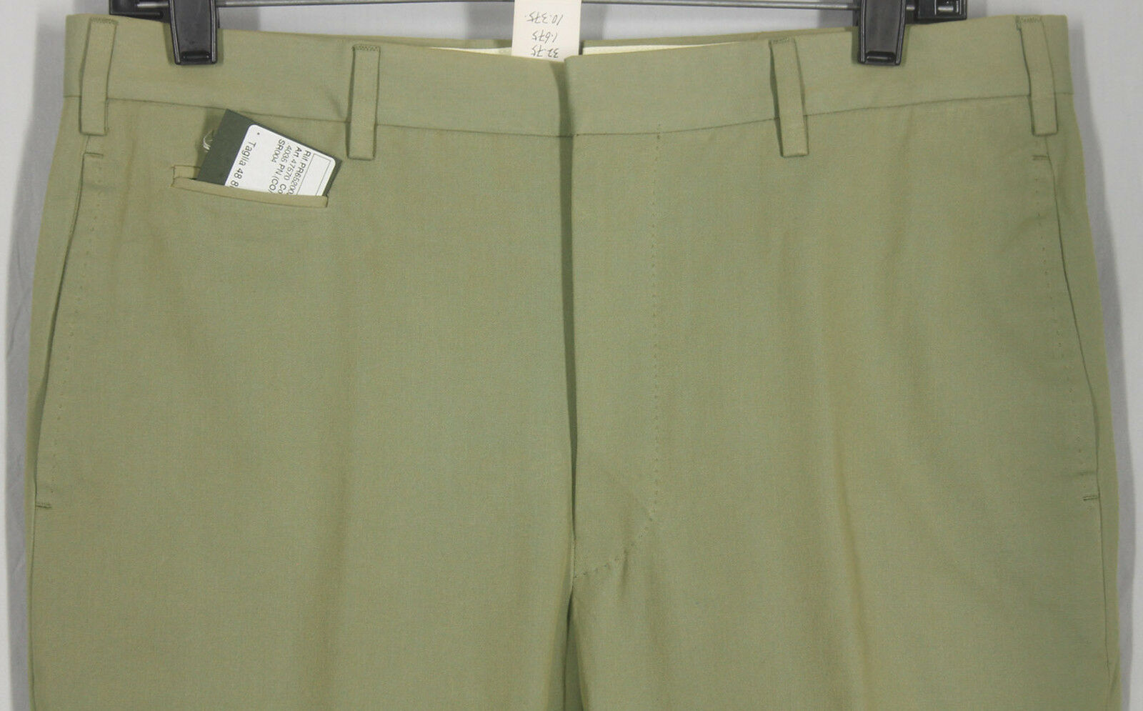 NWT_ GIANLUCA ISAIA HAND_MADE_PURE_COTTON_GABARDINE_PALE_OLIVE_W33 12744