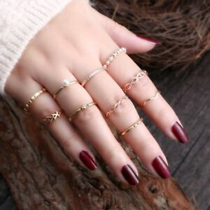 706caba8afe Details about 10Pcs/set Women Boho Vintage Crystal Pearl Finger Midi  Bohemia Punk Knuckle Ring