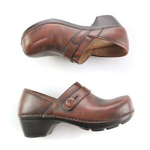 Dansko-Brown-Leather-Button-Clogs-Professional-Shoes-Womens-36-US-5-5-to-6