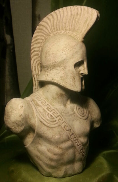 Leonidas The King of Sparta. Greek Sculpture Bust Statue. 38 x 26 x 13 cm