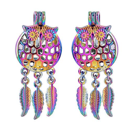 5X Rainbow Color Dream Catcher Hibou Oiseau Perle Cage Médaillon Pendentif À faire soi-même Jewelry