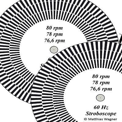 Stroboscope-disc for Gramophone 80, 78, 76,6 rpm, US-version.