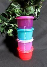 Tupperware NEW Purple Lilac Blue &  Dark Orange SNACK CUP CUPS Set 4 Bowl Seals