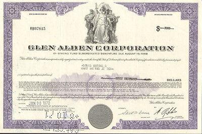 Glen Alden Corporation /> $1,000 bond certificate coal stock share scripophily