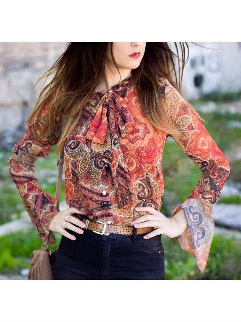 Zara Paisley Printed Brown Red orange Blouse Shirt Top Bow Size M,