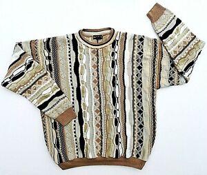 Bachrach-COOGI-Style-3d-abstrakte-Streifen-Herrenpullover-SZ-L-Bill-Bill-Cosby-Biggie-VTG