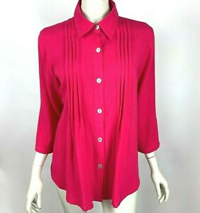 Fridaze Linen Camellia Button-Up Pleat Tunic Blouse Top 3/4 Sleeve Women Small