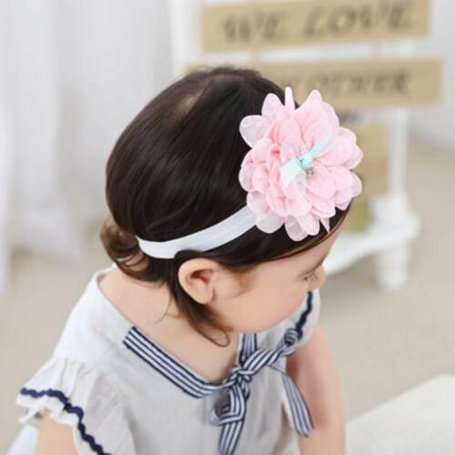 Baby Headband Flower Pink Ribbon Hair Band for Baby Girls Kids Turban Newborn