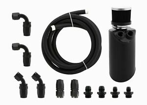 Aluminium-Baffled-Engine-Oil-Catch-Can-w-Hose-kit-AN8-for-Ford-Falcon-BF-Black