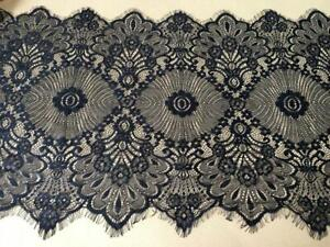 Beaded Black Lace Sold by the yard. French Lace Eyelash Lace.9 Inch Wide
