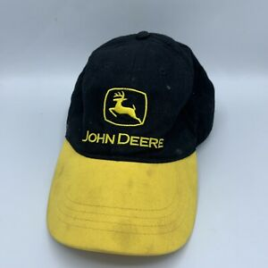 Vintage John Deere Black/Yellow Trucker Hat Hook And Loop Cap Official John Deer