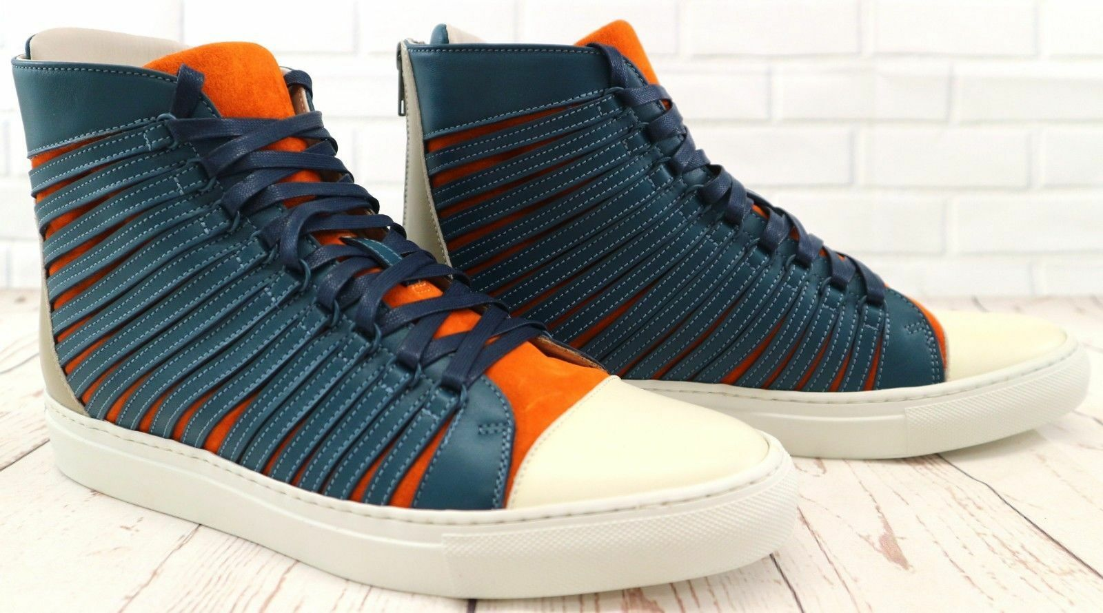 Cipher Radial Marine bluee orange Men's Leather High Top Trainers Sneakers