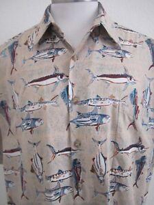Kahala-AVI-Collection-Short-Sleeve-Fish-Tropical-Hawaiian-Shirt-Mens-Large