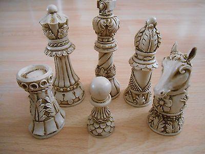 brown Isle of Lewis Fantasy Model Resin Chess Set in Teak /& Ivory effect