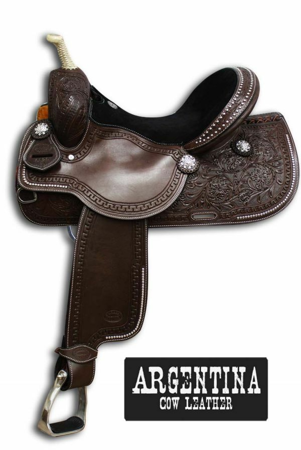 Showman™ silverina  Cow Leather Round Skirt Saddle.14 ,15 ,16   100% authentic