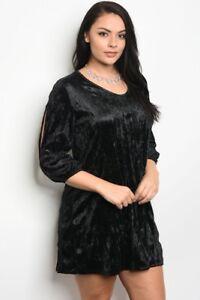 Women-039-s-Plus-Size-Black-Velvet-Skater-Dress-with-Scoop-Neckline-3XL-NEW