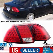 Led Taillight Rear Lamps For 2001 2005 Honda Civic 4 Door Sedan Chromered Fits 2004 Honda Civic