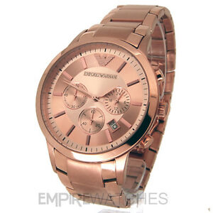 b82966258cdcf NEW  MENS EMPORIO ARMANI ROSE GOLD CHRONOGRAPH WATCH - AR2452 - RRP ...