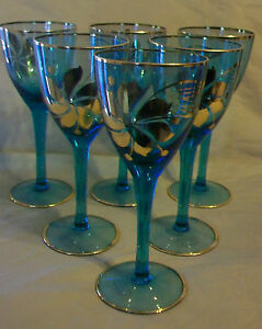 6-PIECE-SET-VINTAGE-HUNGARIAN-HAND-BLOWN-BLUE-CRYSTAL-WINE-GLASSES