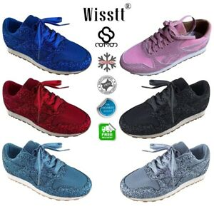 Womens-Sequin-Glitter-Sneakers-Ladies-Fashion-Sparkle-Trainers-Walk-Shoes-Sizes