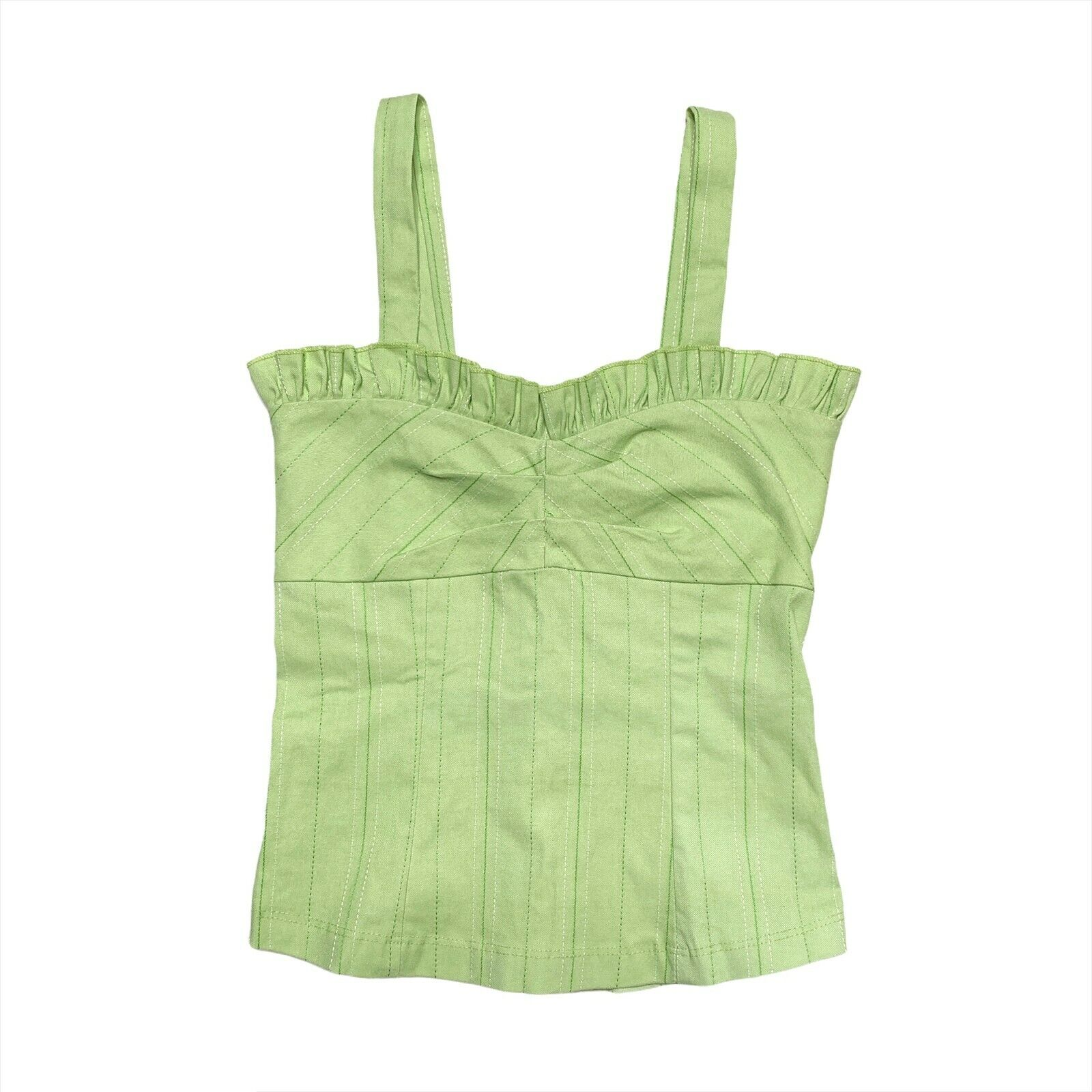Size Small Lime Green Ribbed Top  Vintage 90s Sleeveless Backless Satin Trim Pointy Collar Blouse