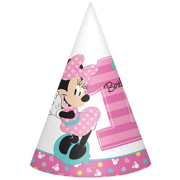 Minnie Mouse Fun To Be One Cone Hats 8 1st Birthday Party Supplies Paper