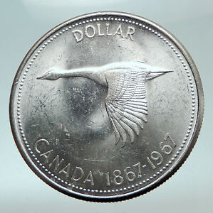 1967-CANADA-CANADIAN-Confederation-Founding-with-GOOSE-Silver-Dollar-Coin-i82100