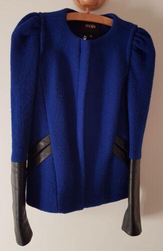 Maje État 36 Bleu Laine Très Taille Et Erqr8r Veste Bon Cuir BderWCxo